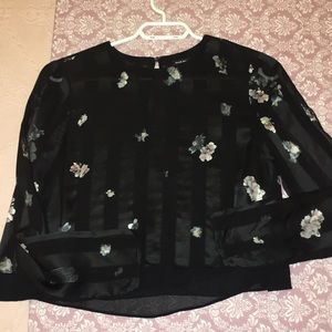 Club Monaco cropped long sleeve blouse.